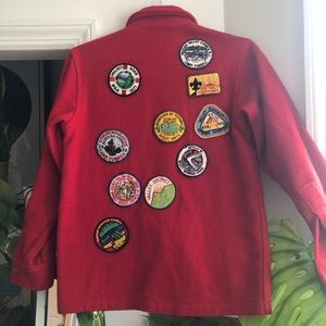 VINTAGE 1970s Red Boy Scouts Jacket with Patches